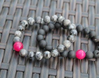 Pink and Black Stacked Bracelets