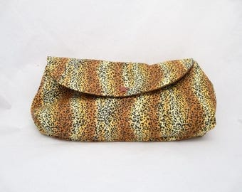 Lined pouch / / printed cat - Tiger / / Panther 21 x 13 cm