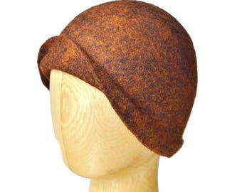 Felted hat for women, Felt hat, Ladies ' hat, Felted hat Cloche, Women felted hat, Felt hat for ladies, Winter ladies hat, Hat brown