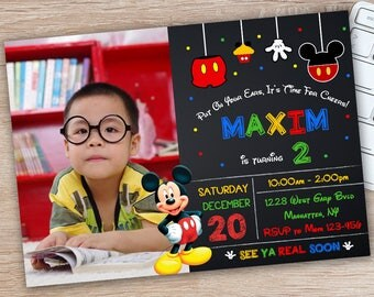 ON SALE 30%Mickey Mouse Invitation - Mickey Mouse Party Invitation - Mickey Mouse Birthday