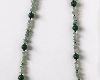 Jade and Malachite handmade neckless
