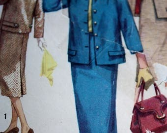 Vintage 1950's Suit Pattern With Optional Tab Button Detail---Simplicity 1798---Size 16 Bust 36
