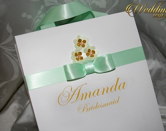 Mint & Gold Custom Bridesmaids Gift Bag - Personalized Bachelorette Party Gift Paper Bags - Bridal Shower gifts - Wedding Welcome Bags