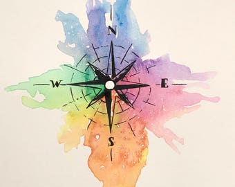 Original watercolor, compass, 7x10 made on watercolor paper 140 lbs.