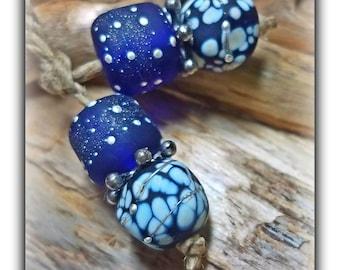 TWILIGHT & STARDUST**Handmade Lampwork Beads** Ink Blue**Angela Bohanan**