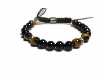 Black onyx beaded  charm bracelet