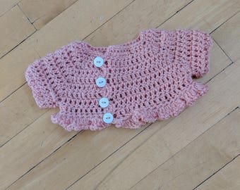 Crocheted Ruffled Hem Pick Crop Baby Cardigan, 3-6 Months