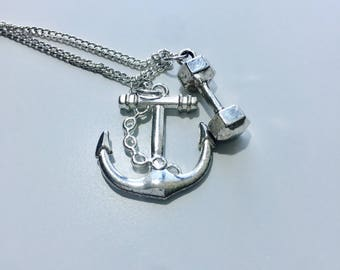 Necklace w/ Anchor and Dumbbell Charm