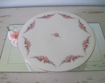 Antique German Footed Cake Stand Plate Porcelain w/ Pink Rose Garlands c1910 Shabby Decor, Bridal Shower Gift,Romantic Style