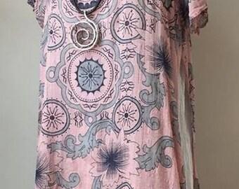 Selena 2 piece linen & cotton dress-PINK