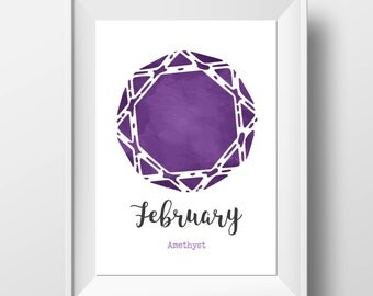 February Birthstone - Amethyst Print - Birthstone Wall Art - Birthday Gift - February Birthday - Birthstone Nursery - Gemstone Wall Art