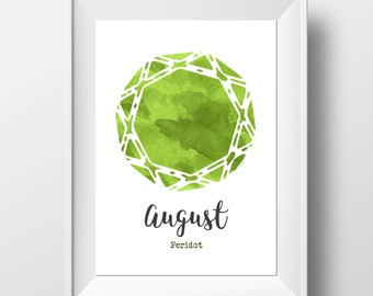 August Birthday - Peridot Print - Gemstone Wall Art - Birthstone Print - Birthday Gift - August Birthstone - Peridot Wall Art - Crystal Gift