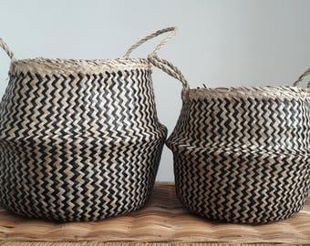 Handmade Vietnamese Seagrass Belly Basket  Black and Natural Zig Zag Pattern
