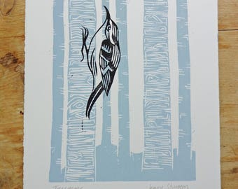 Treecreeper - Woodland Bird Original Lino Print