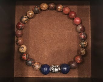 Brown Stone and Navy bead bracelet