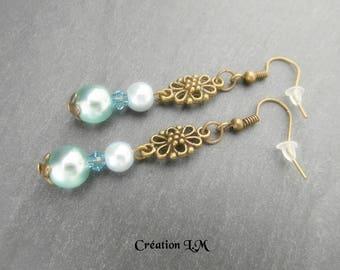 Earrings blue turquoise bronze
