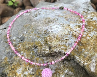 Pink Flower Pendant on a Pink Seedbead Necklace