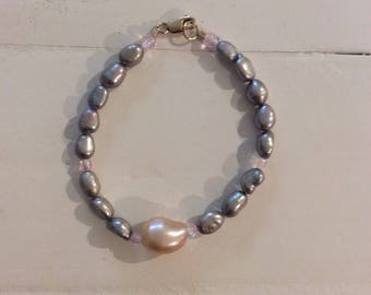 Pearl bracelet with silver/purple & pink freshwater pearls