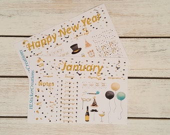 Erin Condren Happy New Year's Monthly Kit, Celebrate, New Years Day, New Years Eve, Party, New Years