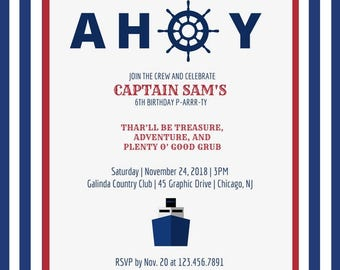 Ahoy Captain Party Invitation