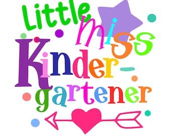 """SVG, DXF, PDF, png Cut file,""""Little Miss Kindergartener"""", bluemoosesvg, silhouette cut file, School svg, kindergarten svg, 1st day of school"""