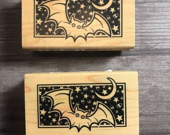 Bat Night Sky Small Wooden Block Stamp