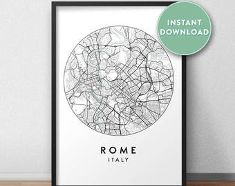 Rome Map Etsy - Rome map download