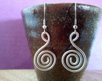 Tribal Spiral earrings, festi, Aluminium Wire, silver wire Spiral earrings, wire craft, spiral earrings, anniversary present