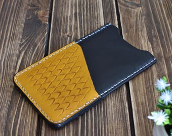 Leather case with card holder,Samsung Galaxy S8, leather case, handmade case, embossed leather case, yellow case, gifts