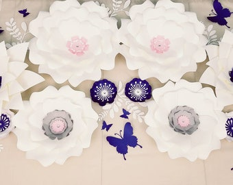 White and navy paper flowers. Large white and navy flowers wall nursery. Baby shower decor. Large flower wall. White and gray flowers.