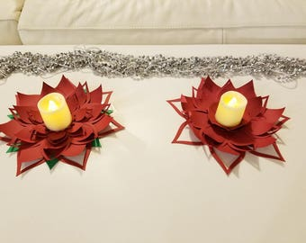 Christmas Table decor set of two paper flowers. Christmas table centerpiece. Red Christmas flower. Red table decor. Wedding table flowers.