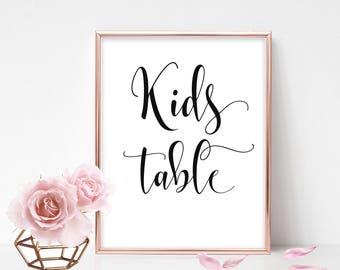 Printable Kids Table Sign Printable Kids Table Wedding Sign Wedding Table Signs Children's Table Signs For Wedding DIY Instant Download PDF
