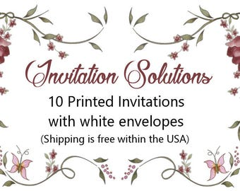 10 Printed Invitations with White Envelopes add on with a custom invitation