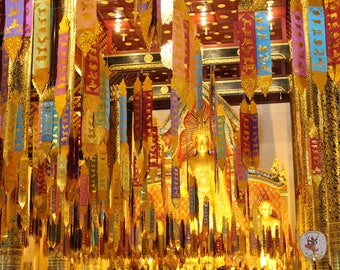Buddha - Temple - Prayer Flags - Thailand - Instant Download