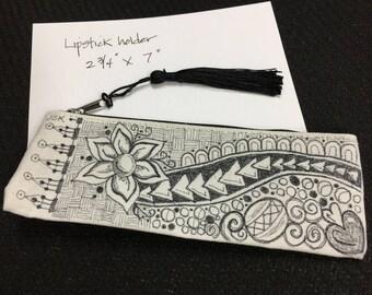 Zentangle case, zippered clutch, eye glass case