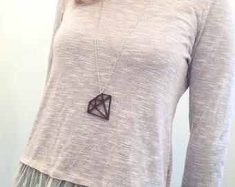 Laser cut Wood Diamond Necklace