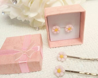 Flower girl gift set, flower girl gift, flower hair grips, flower ear studs,flower gift set,