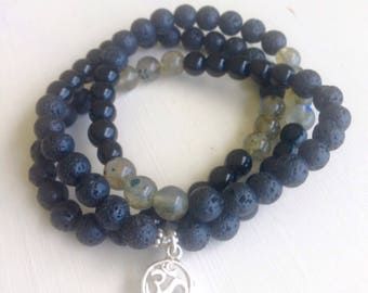 Triple Wrap Bracelet with Sterling Silver OM [Lava, Black Onyx, Labradorite] Protective-Strengthening-Grounding