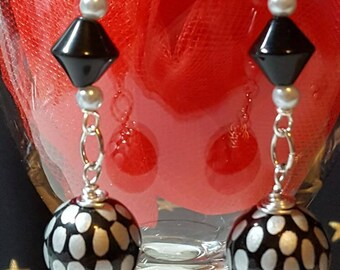 Black n Silver Ball Earrings Silver Tone Accents