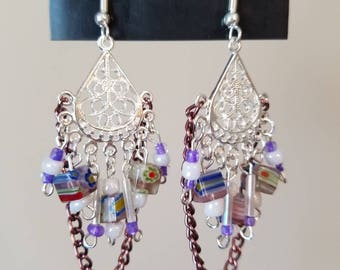 Purple Chain Chandelier Earrings
