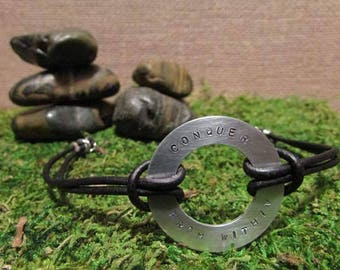 Washer Pendant Bracelet - Conquer From Within
