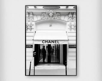 Chanel Paris 31 Rue Cambon - Digital Download Print - Printable - Monochrome - Black and White