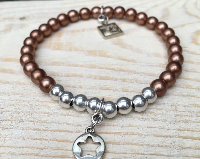 Free shipping within NL bracelet bracelet stone oudzilverkleur