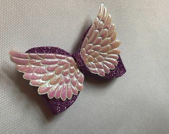 Purple glitter angels wings bow