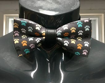 Grey with Multicoloured Puppy Paws Bow Tie