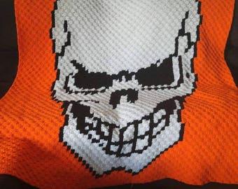 Crochet skull blanket