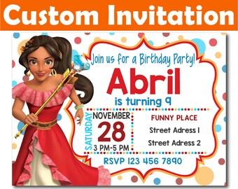 SALE -50%: Personalized Elena of Avalor Invitation, Elena of Avalor Birthday Invitation, Elena of Avalor invitation, Elena of Avalor Invite