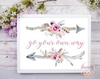 Floral Arrow Printable, Go Your Own Way, Arrow Print, Boho Wall Art Printable, Girl Nursery Decor, Nursery Prints Girl, Watercolor Arrows