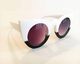 Two Tone Acrylic Cat Eye Sunglasses