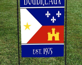 """Personalized Louisiana Acadiana Flag, red white blue,  show your heritage, housewarming gift, Christmas Gift, Hostess Gift, 12""""x18"""""""